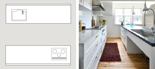 II型キッチン説明図と写真