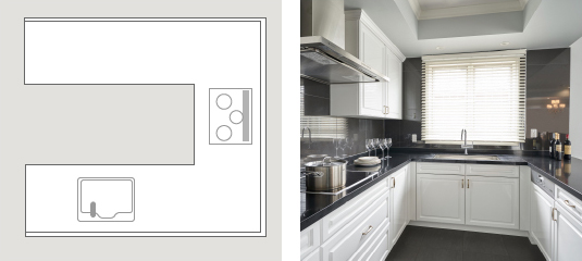 U型キッチン説明図と写真